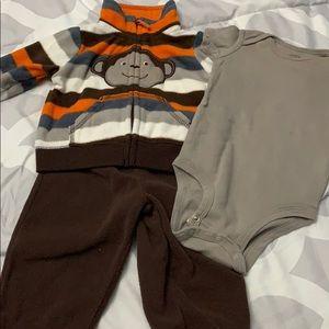Carters 3 piece boys fleece outfit